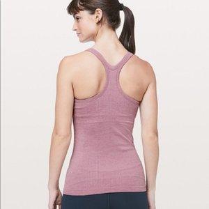 LU-13 Kadınlar Yoga Ebb için Sokak Tank II Klasik Y şeklindeki Dikişsiz Yelek ile Göğüs pedi Egzersiz Gym Backless Spor Spor Gömlek Koşu