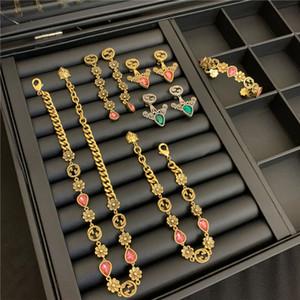 Luxury Love Tassel Earrings GG Letters Brand Necklace Earrings Studs Color Zircon Designer Bracelet Women Jewelry Sets
