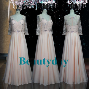 Mutter Kleider Mutter der Braut Kleid mit einer Linie Chiffon- Hochzeit Gast Plus Size Spitze Ganzkörperansicht Fließendes A-Linie Halbarm