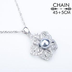 Perla natural de traje de plata 925 joyería fija los pendientes de las mujeres con las perlas PendantNecklace / Anillos juego de joyas caja de regalo
