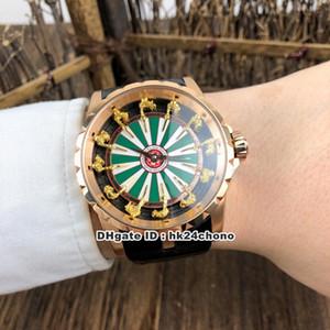 10 meilleur style Excalibur 45 Chevaliers de la Table Ronde Autoamtic Mens Watch RDDBEX0398 Rose en or blanc / vert Dial cuir Montres Bracelet Gents