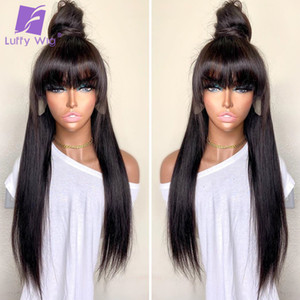 Straight Full Lace Human Hair Wigs With Bangs 180% Density Glueless Remy Brazilian Hair 4x4 Lace Closure Wig For Women LUFFY