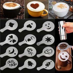 Kahve Elek Filtre Kahve Makinesi Cappuccino Barista Kalıp Şablonları, uzerine Çiçekler Pad Sanat Kahve Araçları 16pcs Sprey / lot XD22961