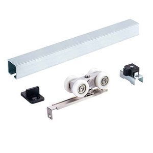 EN1527 certified 100kg Side mounted wooden sliding door hardware accessories barn door track kit bypass rail flat track plastic