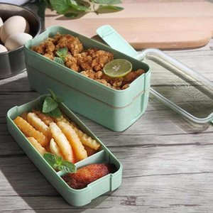 3 strati Lunch Box Food Storage Container Microonde Bento Set Scatole per gli studenti Straw Contenitori ZZA1959