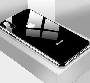Placage En Verre Trempé Cas De Téléphone Pour Iphone Xs Max Xs Xr X 8 7 Plus Couverture Doux Tpu Bord Cas Pour Iphone 6s 6 Plus Coque