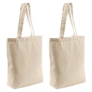 2 piezas reutilizables blanco de la lona bolsas de mano, de ultramarinos, bolsas de libros, bolsos de compras del arte DIY de dibujo, bolsas de regalo, etc.