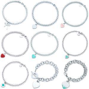 100% 925 Sterling Sterling Original Tiff en forme de coeur Pendentif Bracelet Bijoux Charm Marque Design pour femme Logo Fine Bijoux Cadeau