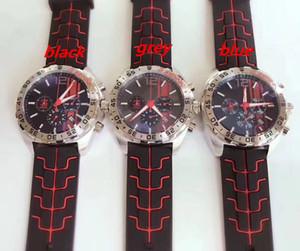 2019slipper triple course sport montre bracelet en caoutchouc boîtier en acier blanc montre de luxe pour hommes F1 VK quartz multifonction montre chronographe calendrier