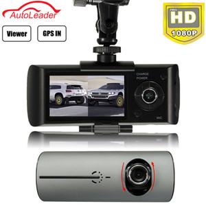 Freeshipping 2.7'' Dual Lens Car DVR Dash Camera with GPS G-Sensor Camcorder 140 Degree Wide Angle Cam Video Digital Recorder