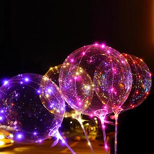 Çocuklar için LED Işık Up Balonlar Renkli Yanıp sönen ışıkları Renkli Parlayan Parti Düğün Dekorasyon ile 20 İnç Şeffaf Bobo Balon