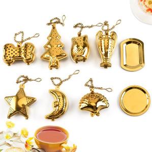 Tè dell'acciaio inossidabile Filtro per l'oro Shell Bone stella a forma di luna colino da tè e caffè Cucina Gadget OOA7598-2