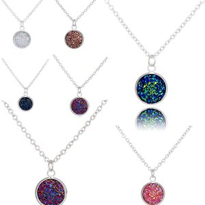 fashion pendant colorful stone neckalce Resin Cabochon Charm Pendant Necklaces For Women Ladies Jewelry Accessories