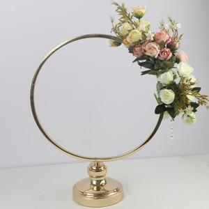 Круглое кольцо арка Именной Centerpieces металл Искусственного Шельф-роуд Lead Цветочной Stand Backdrop украшение