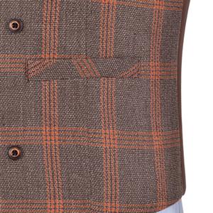 Men's Business Navy Vest Wool Plaid Slim Fit Single-breasted Cotton Suit Vest Waistcoat For Wedding Formal Vest Groomsmen