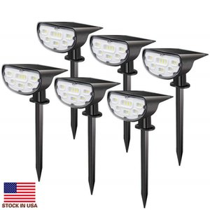 Solar Pathway Lights With Spike 14leds Walkway Spotlight Small Uplight Downlight Solar Powered Led Garden Lights For Lawn Patio Yard