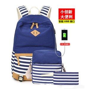 Travel Bag marinho Estilo Moda Casual Canvas três peças Set Polka Dot Stripes Estilo da faculdade de mochila Computer