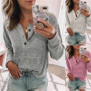 couleur unie des femmes ouvertes tube nervuré long tissu boutons t-shirt Bouton manches Bouton top T-shirt femme