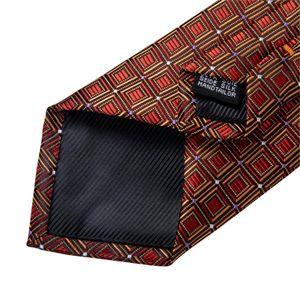 New Wedding Men Tie Red Gold Plaid Fashion Designer Tie For Men Business Party 8cm Dropshipping DiBanGu Groom Tie Kravat MJ-7322