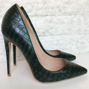 Sxzyqfw 2019 봄 새로운 여성 하이힐 다크 그린 스톤 패턴 여성은 여성 12CM 레이디 사무실 신발 T200618 위해 하이힐 신발 펌프