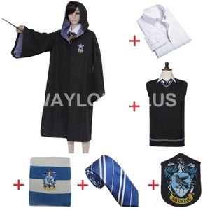 Frete grátis HARRY POTTER Ravenclaw Cosplay Robe Manto camisa uniforme Scarf Laço camisola para o traje Harris