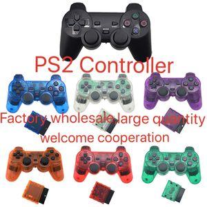 لSONY PS2 PS4 تحكم لاسلكي 2.4G الاهتزاز بلوتوث غمبد لتشغيل محطة 2 المقود وحدة التحكم عن نيتها إصدار قبضة 2 لون شفاف