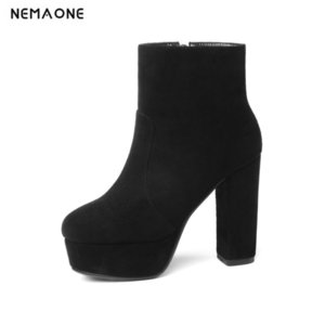 NEMAONE 2020 new top quality flock leather boots women high heels platform ankle boots for women round toe autumn winter shoes CX200820