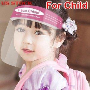 Şimdi ABD Stok! Çocuklar Buğulanmaz Tam Yüz İzolasyon Şeffaf Visor Koruma Splashing Güvenliği Çocuk İçin Koruyucu Yüz Kalkanı Temizle Maskesi
