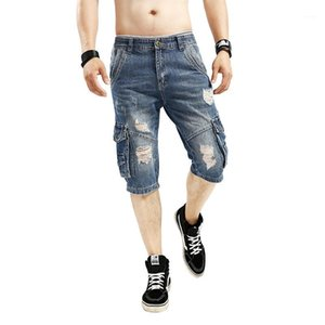 Shorts Vintage Cargo Denim Short Pants Holes Hiphop Light Washed Mens Casual Shorts Mens Designer Jeans