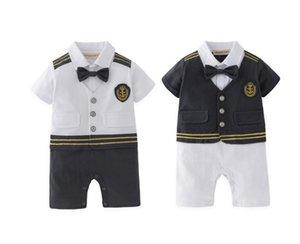 Baby Boy Captain Pilot Marine Jumpsuit Infant Toddler Short Sleeves Sailor Navy Summer Clothes Costume Baby Onesie Retail