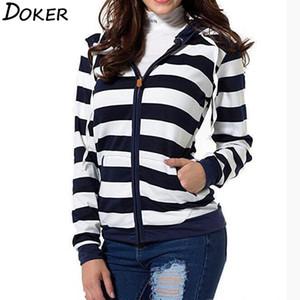 2018 가을 여성 스트라이프 후드 티 스웨터 긴 소매 후드 지퍼 포켓 재킷 캐주얼 플러스 사이즈 Tracksuit Womens Clothes