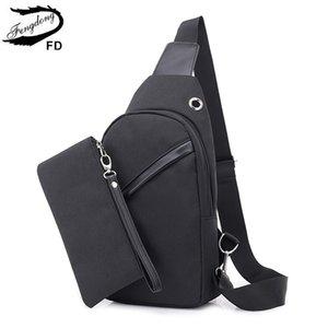 Mini Sling Maschio USB Borsa a tracolla 2pcs / Set Sport Piccolo sacchetto del petto uomo Messenger Crossbody Viaggi Carica Fengdong QDHTJ