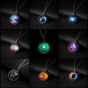 Collares Bola Collar de cristal Duplex Planet Crystal Stars Galaxy Patrón Collares pendientes Novia Regalo Collar largo de cadena larga