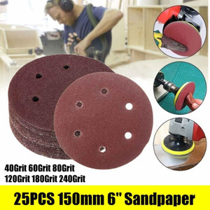 25pcs 6 Inch 150mm Round Sandpaper 6 Hole Disk Sand Sheets Grit 40 60 80 120 180 240 Hook and Loop Sanding Disc Polish