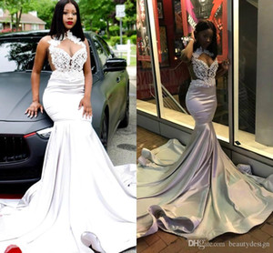 Black Girls Silver Beaded Mermaid Prom Evening Dress Sparkly African Sheath Formal Party Gown Pageant Dresses Custom Made