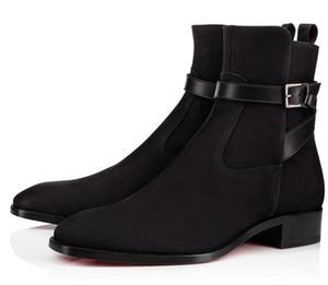 Moda de alta qualidade inferiores vermelhas Homens Causal nuas botas Sapatos Top Moda Masculina Marca Mulheres Plano botas Cavaleiro Confortável Moda Luxo