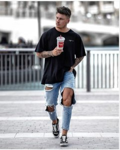 Men's Designer Jeans Big Holes Straight Leg Trousers Loose-fitting Mid-waisted Pants Funky Leg Trousers New Pants with Zipper Hot Sale