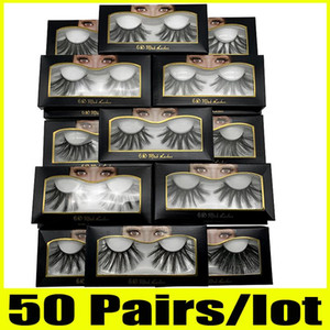 50 pares de pestañas de 25 mm Venta al por mayor 25 mm Pestañas postizas Tira gruesa 25 mm Pestañas de visón 3D Maquillaje Dramático Pestañas largas de visón 6d-22