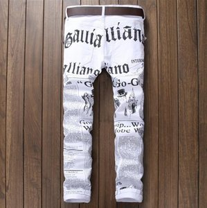 White printed pants men's letters personality printed stretch denim trousers foreign trade new quality fashion jeans