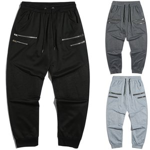 Summer Fashion Trousers Men Sports Casual Pants Zipper Stitching Drawstring Sports Trousers With Pocket Mens Pants
