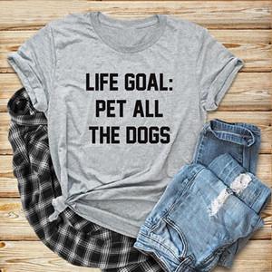 Mulheres Shirts Womens Tops vida curta Goal Pet All Dogs T unisex engraçado gráfico Grey Algodão Stylish Slogan Outfits camisetas