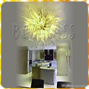 A living room Yellow Modern Pendant Livingroom Art Deco 100% Mouth Blown Borosilicate Luxury Hand Blown Glass Chandelier Light