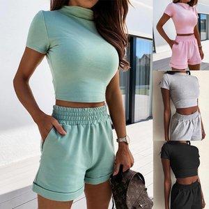 Kadınların eşofmanlar kadın giyim 2 parçalı set kadınlar iki parçalı sıcak sıkı seksi moda eğlence takım elbise kadın yaz Tişört bodysuit kıyafetler