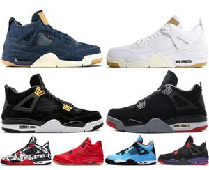 4 4s Denim Travis Azul Sapatos de Basquete Homens Azul Preto Branco Denim Jeans Sports Sneakers Novo Com Caixa