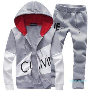 Homens Moda Dois Pieces Define Casual Faixa Suit Masculino camisola + calças ternos homens Hoodies Set Moletons Dropship Z0
