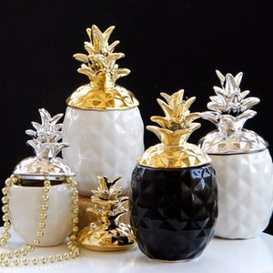 New Fashion Pineapple Storage Box for Jewelry Black Pineapple Figurines Fruit Crafts Ornaments For Home Offices