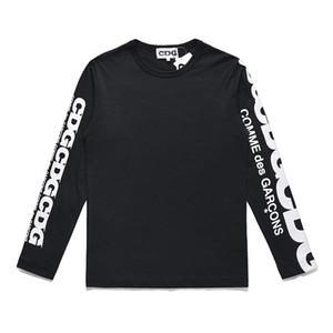 Gute Qualität 2019 lange Hülsen-Rot-Herz-Männer-T-Shirt aus 100% Baumwolle T-Shirts Männer-T-Shirts mit Buchstaben bedruckten Ärmel Mode CDG Paaren Hemd
