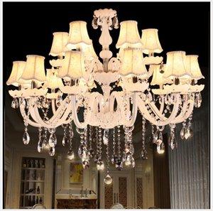 Crystal White Modern Chandelier luminária Luster Decora Hanging Candle E14 LED Opcional Lustres De Cristal Chandelier AC frete grátis