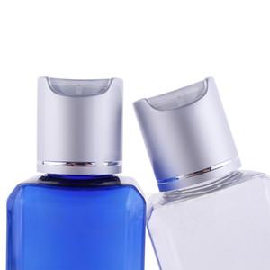 20pcs 100ml garrafa plástica Cosmetic Shampoo recipientes PET Praça da folha de prata Cap Top Disk Esvaziar garrafas Toner Loção