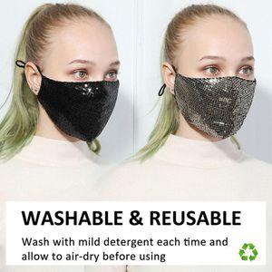 BlingBling Maschere Paillette faccia fascino antipolvere lavabile riutilizzabile Maschera respiratore per il salone, Maschera uso della casa traspirante per adulti di protezione